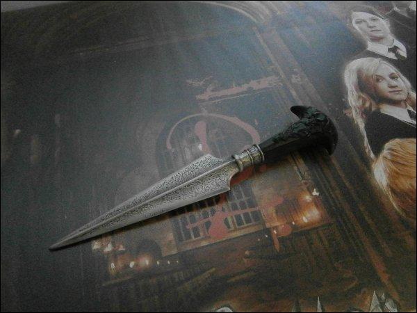 Ensemble, Harry et lui baissèrent leur regard vers le manche argenté du poignard planté dans sa poitrine haletante.   Pour finir, vous savez sans doute à qui appartient mon poignard préféré ?