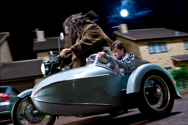 Un grondement sourd avait brisé le silence de la nuit. Le bruit augmenta d'intensité tandis qu'ils scrutaient la rue des deux côtés pour essayer d'apercevoir la lueur d'un phare. Ils levèrent alors les yeux et virent une énorme moto tomber du ciel et atterrir devant eux sur la chaussée.   A qui est cette grosse moto qui a conduit bébé Harry au 4, Privet Drive ?