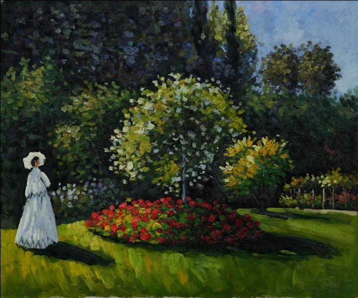 Qui a peint Jeanne Marguerite Lecadre sur cette toile intitulée  Femme dans un jardin  ?