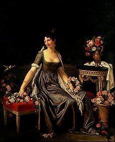Qui a peint cette femme avec des fleurs et des oiseaux ?