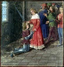 Comment appelle-t-on la cérémonie durant laquelle un jeune noble reçoit ses armes des mains d'un seigneur et devient chevalier ?