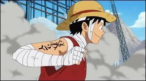 Que représente l'écriture  2Y  sur le bras gauche de Luffy ?