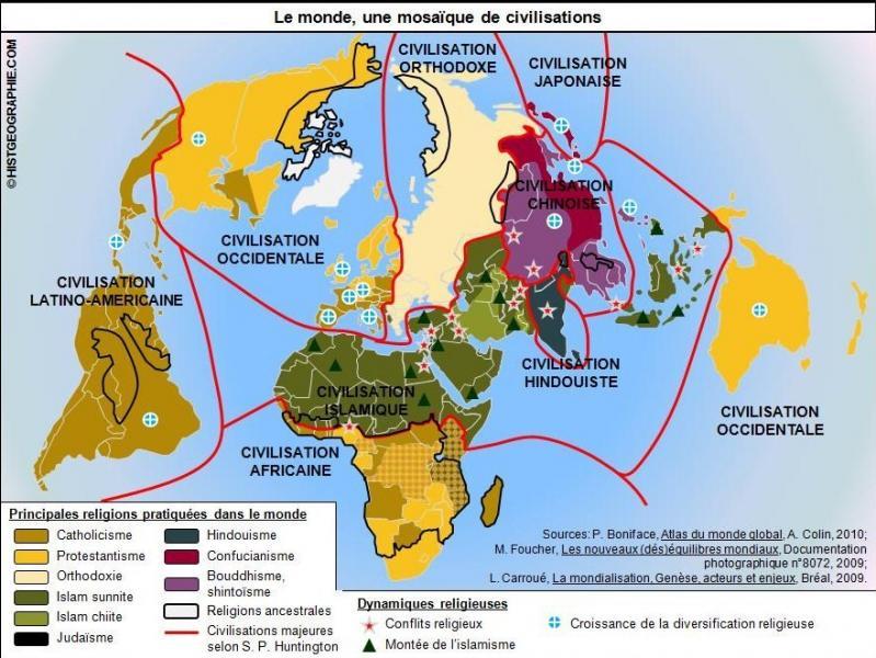 Comment peut-on résumer la situation religieuse de l'Afrique selon cette même carte ?