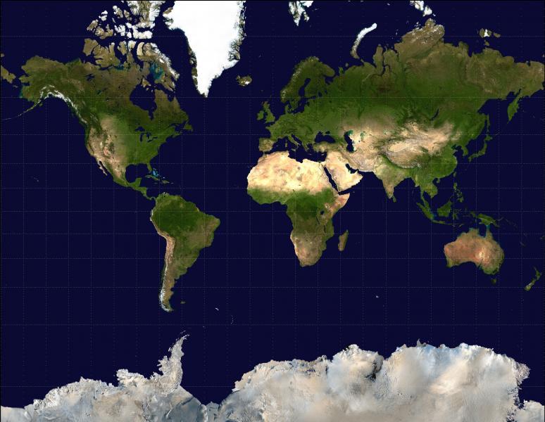 Elaborée en 1569, la projection de Mercator, avec laquelle la carte ci-dessous a été élaborée, possède un défaut majeur. Lequel ?