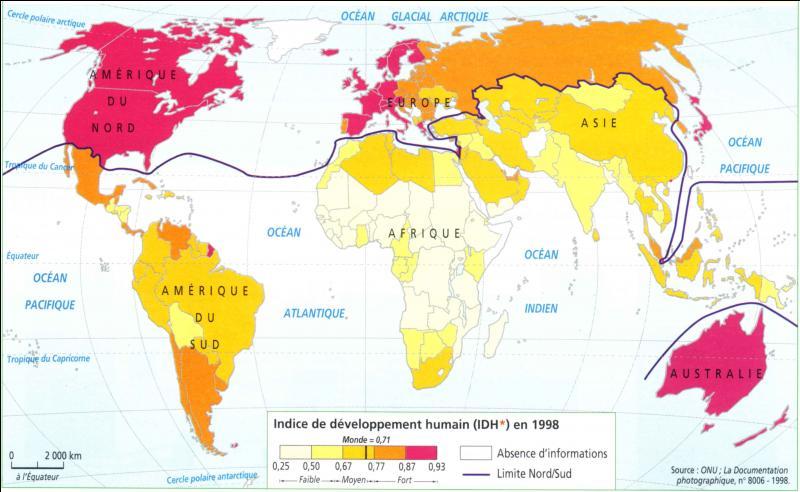 Lequel de ces pays a t-il l'Indice de Développement Humain le moins élevé sur cette carte du monde ?