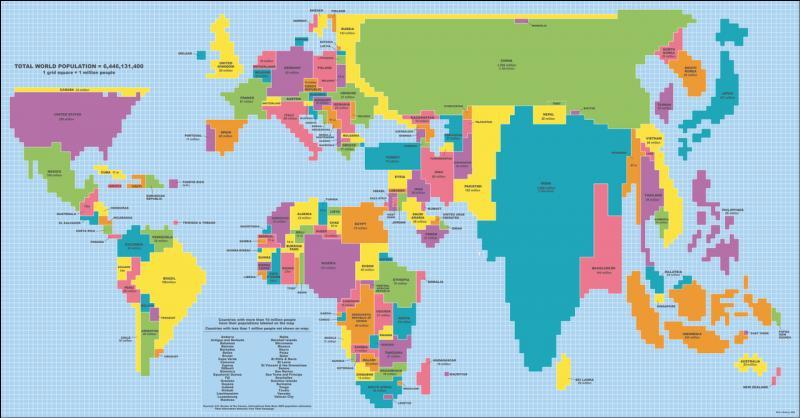 Sur cette même carte, quels états sont-ils largement sous-dimensionnés par rapport à leur superficie réelle ?