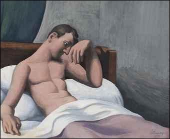 Le malade assis dans son lit.