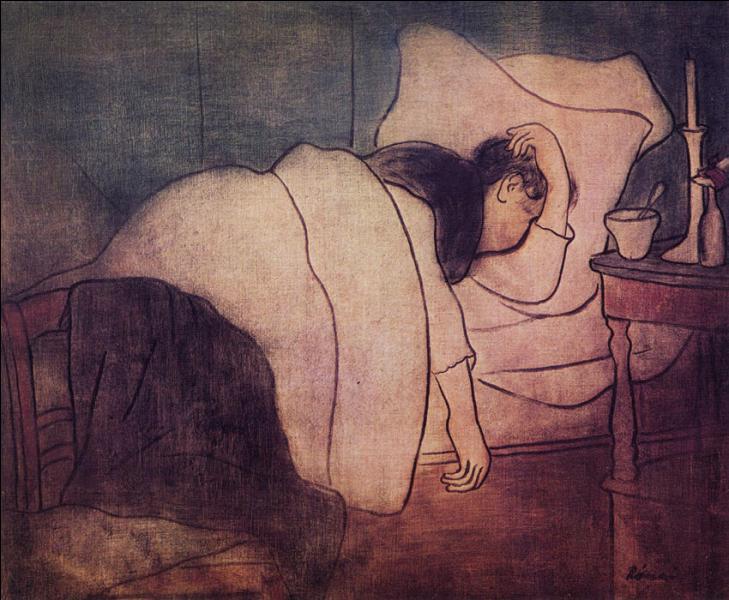 Dame dans le lit.