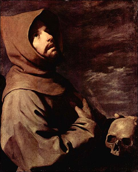 De quel peintre espagnol du XVIIe siècle, est ce tableau représentant Saint François d'Assise ( Saint François à genoux avec une tête de mort) ?