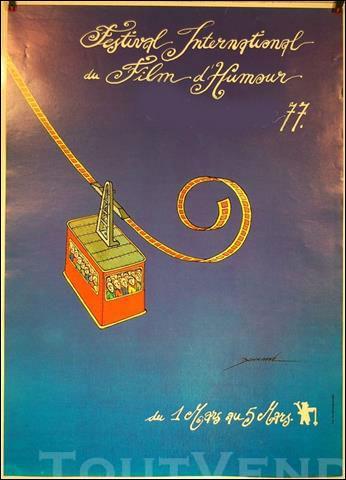 Magnifique affiche du dessinateur et humoriste Bonnaffé, elle illustre le Festival International du film d'humour en 1977, dans quelle station de sports d'hiver située dans le Massif de Belledonne a-t-il été organisé durant 20 ans ?