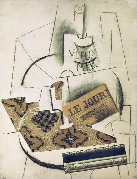 De qui est cette oeuvre, faites de collages de papiers peints et de dessins au fusain réalisée en 1912 ?