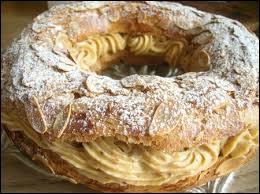 Pâte à choux, crème mousseline et amandes effilées. Gâteau ayant la forme d'une roue, il a été inspiré d'une course cycliste.