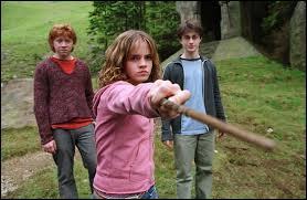 Sur qui Hermione pointe-elle sa baguette ?