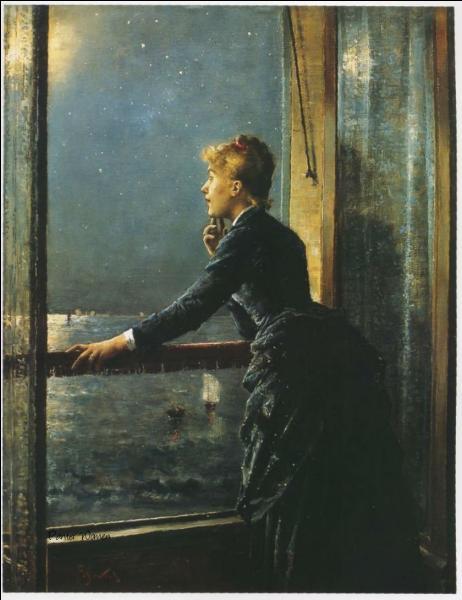 Qui a peint  Femme regardant la mer de nuit  ?