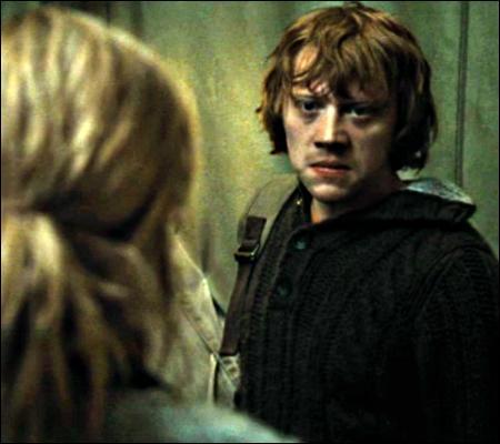 Pour Ron, cette discussion est la goutte d'eau qui fait déborder le vase ; d'ailleurs, il pleut. Après une violente discussion avec Harry, il décide de :