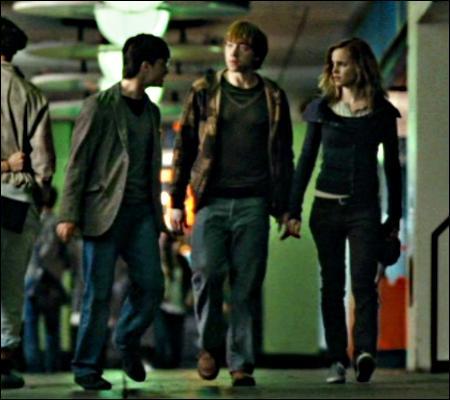 Et puis, au milieu de la fête, des vandales viennent tout casser, avec une violence exacerbée. Un massacre. Harry, Ron et Hermione prennent la fuite. Mais que dit Harry, sur la photo ?