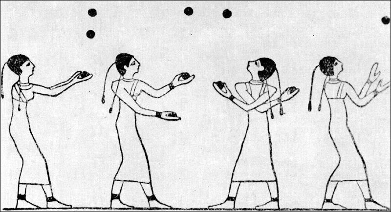 Jongleuse : De quand date cette peinture murale, qui nous montre des femmes lançant des balles, c'est-à-dire les premières jongleuses ?
