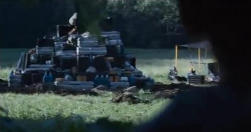 Un peu plus tard, Katniss fait sauter les provisions des carrières, mais ne s'en sort pas indemne. Pourtant, il n'y a aucune allusion à cette blessure dans le film. De quoi s'agit-il ?