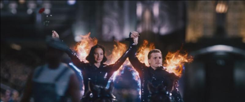 Les tributs sont ensuite amenés au Capitole et sont présentés au public. Sur le char, Peeta prend la main de Katniss, ce qui ravit le public. De qui vient cette idée dans le livre ?