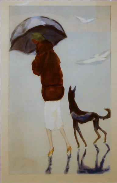 Qui a peint Femme avec un chien sur la plage ?