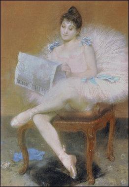 Danseuse lisant le journal.