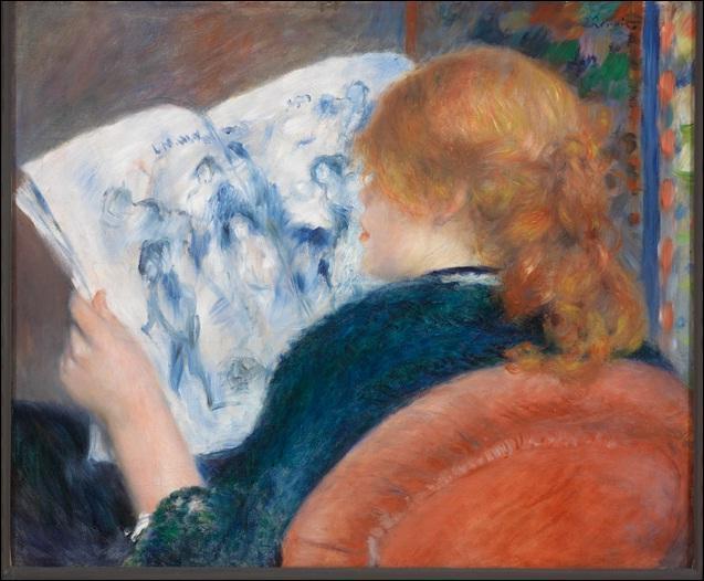 Jeune fille lisant un journal illustré.