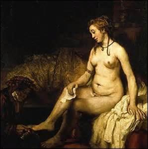 Mon nom est «Bethabée au bain tenant la lettre de David» . Huile sur toile de 142cm x 142cm, je suis réalisée en 1654 et conservée au Musée du Louvre. Le personnage central est la compagne du peintre, elle s'appelle Hendrickje Stoffels et elle est alors enceinte, lui est né à Leyde (Pays-Bas) le 15 juillet 1606, artiste baroque, il décède désargenté le 4 octobre 1669 à Amsterdam, qui est-ce ?