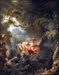 Intitulée «Les Hasards heureux de l'escarpolette» , je suis une huile sur toile de dimensions de 81cm x 64cm, peinte entre 1767 et 1769 et exposée actuellement au Musée du Louvre. Mon auteur de mouvement Rococo, né le 5 avril 1732 à Grasse (Alpes-Maritime) , il est un des principaux peintres français du XVIIIe, il décède apparemment d'une congestion cérébrale le 22 août 1806 à Paris :