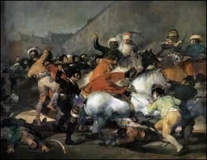 Je m'appelle Francisco de Goya, né le 30 mars 1746 à Fuentetodos (Espagne) , décédé à Bordeaux le 16 avril 1828. Peintre de mouvement Romantique et graveur, je peins cette toile mesurant 266cm x 345cm en 1814. Ce tableau représente une scène qui eut lieu le 2 mai 1808 à Madrid, lors d'un soulèvement contre Joseph Bonaparte, il appartient maintenant au gouvernement espagnol :
