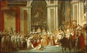 Nommé «Le Sacre de Napoléon» , je suis peinte entre 1805 et 1807. Huile sur toile, je représente le couronnement de Napoléon Ier avec Joséphine de Beauharnais, de grande dimensions (6, 21m x 9, 79m) , je suis exposée au Musée du Louvre. Mon auteur néo-classique, né le 30 août 1748 à Paris et décède en exil à Bruxelles le 29 décembre 1825, peintre officiel de l'Empereur, qui est-il ?