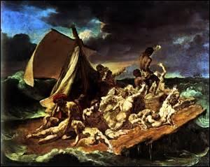 Je me nomme Théodore Géricault, né le 26 septembre 1791 à Rouen, je décède le 26 janvier 1824 à Paris des suites d'une longue agonie due officiellement à une chute de cheval, mais plus probablement d'une maladie vénérienne. Peintre, sculpteur, dessinateur et lithographe, je laisse à la postérité ce chef d'œuvre : une toile sur bois peinte à l'huile entre 1818 et 1819, mesurant 491cm x 716cm :