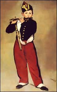 Édouard Manet est mon nom, peintre impressionniste et réaliste majeur de la fin du XIXe . Je nais à Paris le 23 janvier 1832 et décède de gangrène dans cette même ville le 30 avril 1883, en laissant à la postérité plus de 400 toiles, pastels, esquisses et aquarelles. Je peins cette huile sur toile en 1866, de taille 161cm x 97cm, elle est exposée au Musée d'Orsay, c'est :