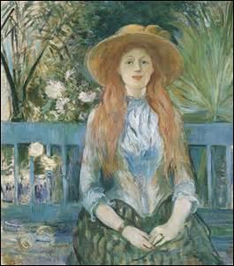 Mon nom est Berthe Morisot, je nais à Bourges le 14 janvier 1841 et décède d'une congestion pulmonaire ou une grippe en soignant ma fille souffrant du même mal, le 2 mars 1895 à Paris. Mariée à Eugène Manet, je deviens la belle sœur d'Édouard. Peintre impressionniste, on me doit cette toile mesurant 90cm x 81cm en 1893, exposée au Musée des Augustins à Toulouse, elle se nomme :