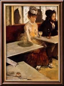«L'Absinthe» , peinte entre 1875 et 1876, je mesure 92cm x 68cm. Les personnages représentés sont l'actrice Ellen Andrée (1857-1925) et le peintre-graveur Marcellin Desboutin (1823-1902) , je suis exposée au Musée d'Orsay. Mon créateur est un peintre impressionniste, sculpteur, graveur et photographe, né à Paris le 19 juillet 1834 et décédé dans la capitale le 27 septembre 1917 :