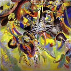 Mon titre est «Fugue» , huile sur toile de 129, 5cm x 129, 5cm, créée en 1914, je me trouve actuellement dans la fondation Beyeler à Riehen près de Bâle en Suisse. Peinte par un artiste russe, né à Moscou le 16 décembre 1866 et décédé à Neuilly-sur-Seine (Hauts de Seine) le 13 décembre 1944, il est aussi un théoricien de l'art, mais comment s'appelle-t-il ?