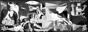 Je me nomme Pablo Ruiz Picasso, né à Malaga (Espagne) , le 25 octobre 1881, peintre surréaliste, sculpteur, dessinateur, céramiste, lithographe et écrivain, je suis l'un des inventeurs du mouvement cubiste. Je décède le 8 avril 1973 à Mougins (Alpes-Maritime) . Cette huile sur toile datant de 1937 de 349, 3cm x 776, 6cm se trouve au Musée Reina Sofia à Madrid, mais comment s'intitule-t-elle ?
