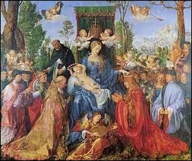 Je me nomme «La Vierge de la fête du Rosaire» ou «Célébration du Rosaire» . Exposée à la Galerie nationale de Prague, je suis créée en 1506, huile sur bois de dimensions (H x L) de 162cm x 192cm. Mon auteur est un peintre allemand né le 21 mai 1471 et décédé à Nuremberg en 1528, il a comme autres talents la gravure et est un mathématicien reconnu, mais qui est-il ?