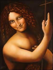 Peintre florentin, je nais à Vinci (d'où mon nom) le 15 avril 1452 et décède à Amboise le 2 mai 1519. À la fois homme d'esprit, scientifique, ingénieur, inventeur, anatomiste, sculpteur, architecte, urbaniste, musicien, poète, philosophe et écrivain, on me doit cette peinture à l'huile sur bois de grandeur de 69cm x 57cm entre 1513 et 1516. Conservée au Musée du Louvre, quel est son nom ?