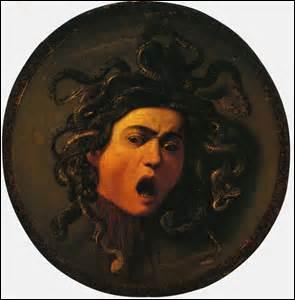 Peintre baroque italien, je me nomme Le Caravage, né à Milan le 29 septembre 1571 et décédé à Porte Ercole (Italie) de façon suspecte le 18 juillet 1610. Auteur de cette huile sur toile de 55 cm de diamètre entre 1597 et 1598, elle est actuellement exposée à la Galerie des Offices à Florence, mais comment s'intitule-t-elle ?