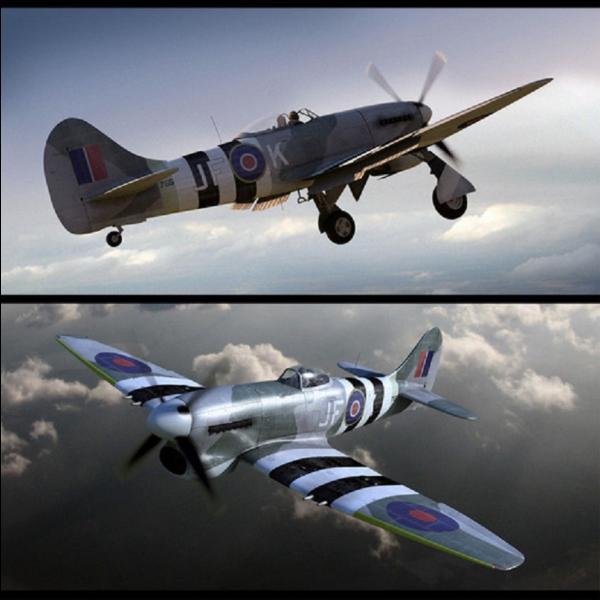 Cet avion équipa la RAF à partir de 1944. Il a été construit, entre autres, pour pouvoir détruire le V1. Il a été développé à partir de son prédécesseur le Typhoon qu'il était destiné à remplacer. Bien que performant, il était sujet à de très nombreux accidents et problèmes techniques. Quel est cet avion ?