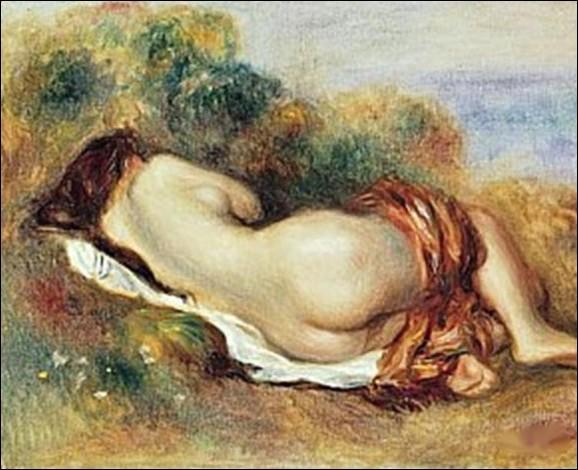 Le nu féminin fut un motif de prédilection pour ce peintre impressionniste tout au long de sa carrière, comme en témoigne ce nu couché de 1882...