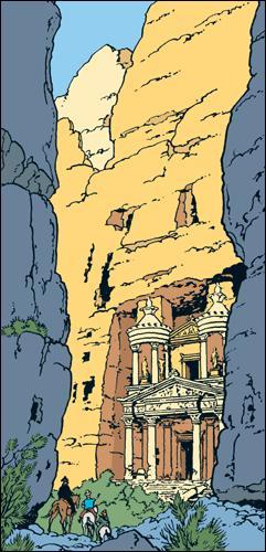 Dans quel album voit-on une cité troglodyte ressemblant fortement à la cité de Petra en Jordanie ?
