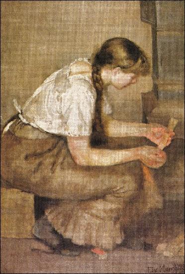 Jeune fille allumant un poêle.
