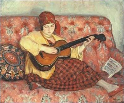 Qui a peint Femme à la guitare (coiffée d'un bonnet) ?