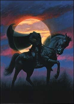 Je suis un cavalier sans tête monté sur un cheval aussi noir que les ténèbres les plus profondes, ma légende est si célèbre qu'on m'a consacré plusieurs films et même une série. On m'appelle :
