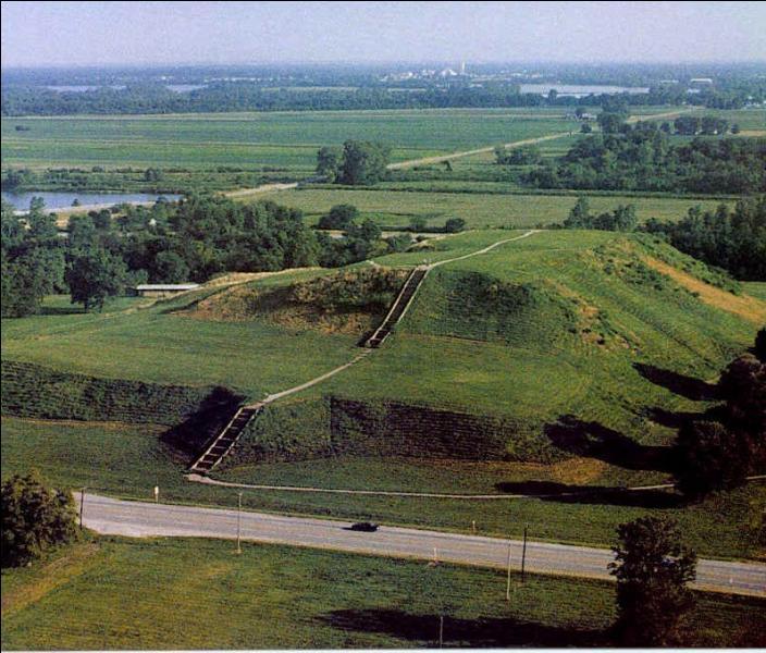 Monks Mound  Cahokia , est un tumulus en terre à quatre niveaux, Mesurant 30 mètres de hauteur, il représentait la troisième plus grande pyramide du continent américain. il est situé dans le sud-ouest de quel Etat américain ?