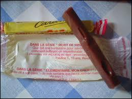 Comment appelle-t-on le caramel rectangulaire et long emballé dans un papier jaune ?