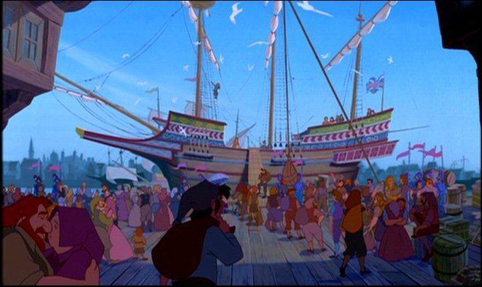 En 1607, des colons britanniques embarquent sur des navires qui font voile vers le  Nouveau Monde . Quelle est la compagnie propriétaire du navire dans lequel s'embarquent John Smith et son compagnon Thomas, compagnie célébrée dans la chanson d'ouverture du film ?