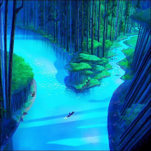 Juste après cette annonce qui a semblé la surprendre, Pocahontas prend un canoë et navigue sur la rivière. Que traduit exactement la chanson  Au détour de la rivière  pour Pocahontas ?