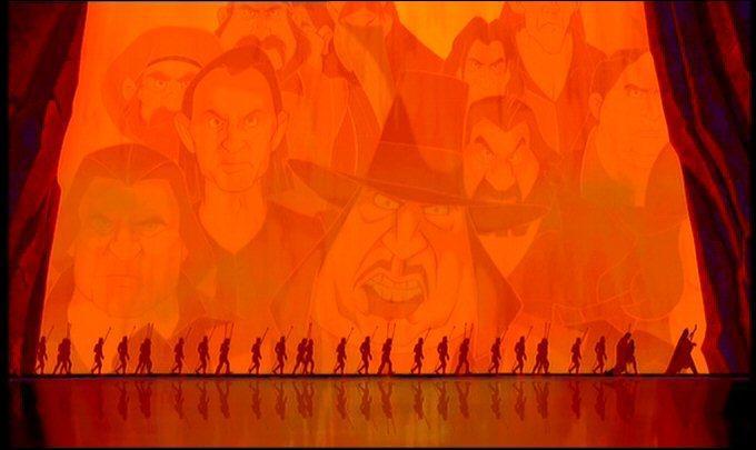 Les indiens ont prévu d'exécuter John Smith au lever du jour. Alors que ce dernier est conduit sous une reprise de la chanson  Des sauvages , que fait Pocahontas ?